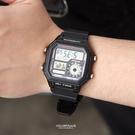 CASIO卡西歐全黑地圖電子膠錶【NEC59】
