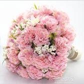 婚紗影樓攝影拍照道具新娘手捧花結婚新款粉玫紅仿真韓式婚禮花束『潮流世家』
