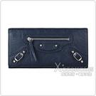 BALENCIAGA 巴黎世家MONEY拉鍊裝飾銀扣設計羊皮12卡扣式長夾(藍)