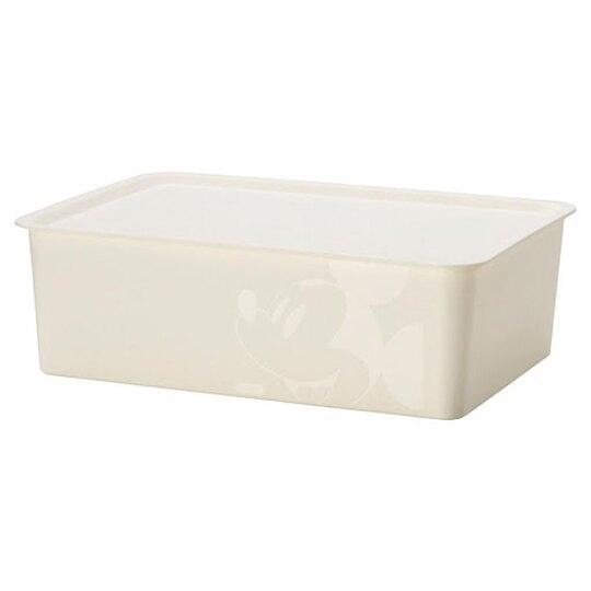 小禮堂 迪士尼 米奇 日製 方形塑膠拿蓋收納箱 玩具箱 衣物箱 9L (M 白 大臉) 4904121-34304