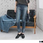 《BA2738-》腰圍鬆緊溫暖內刷毛水洗刷色彈性牛仔窄管褲.2色 OB嚴選