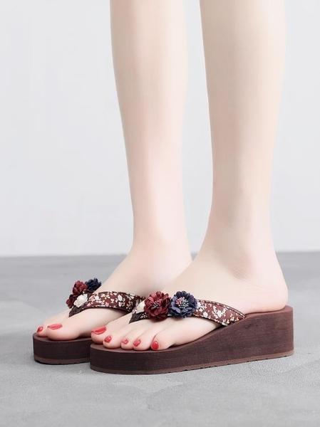 夾腳拖鞋 新款拖鞋女夏時尚外穿百搭海邊夾腳沙灘涼拖鞋花朵厚底人字拖 瑪麗蘇