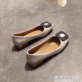 春秋方頭單鞋粗跟女淺口低跟復古平底奶奶鞋方扣小皮鞋工作鞋黑色  遇見生活