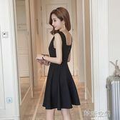 女裝韓版修身顯瘦V領無袖背心洋裝a字裙赫本小黑裙