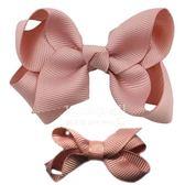 Cutie Bella 手工蝴蝶結髮夾 羅紋緞帶 全包布 中小款二入套組-Dusty Pink