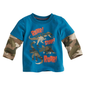 上衣 男童 迷彩恐龍 歐美經典兒童純棉長袖T恤
