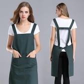 圍裙韓版時尚工作服純棉廚房圍裙圍腰美甲廣告圍裙