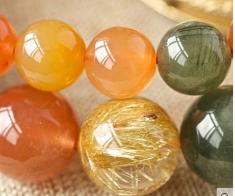 【協貿國際】天然福祿壽紅水晶綠髮晶金髮晶手鍊(7.5mm)