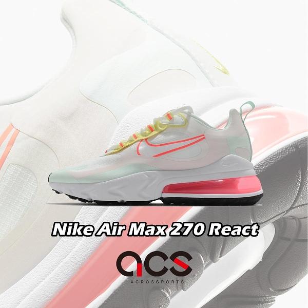 Nike 休閒鞋 Wmns Air Max 270 React 白 綠 粉紅 女鞋 厚底 氣墊 運動鞋 【ACS】 CV8818-102