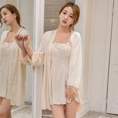 睡衣女夏季性感誘惑冰絲一字領抹胸蕾絲花邊薄款吊帶睡裙兩件套