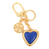 TORY BURCH雙T圓標心型鑰匙圈(藍金色)151228