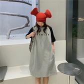 洋裝 5棉 字母刺繡口袋寬松顯瘦短袖T恤裙長款連身裙1F081-B1胖妹大碼女裝