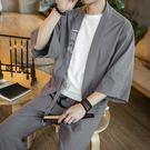 禪服古風改良漢服套裝男士唐裝短袖開衫和服道袍茶服居士服【熱銷88折】