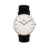 【Daniel Wellington】CLASSIC瑞典時尚品牌經典簡約真皮腕錶-爵士黑x玫金-40mm/DW00100007/原廠兩年保固