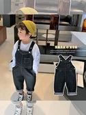 兒童吊帶褲2021春裝新款男童純色簡約連身褲寶寶可愛吊帶褲長褲潮 幸福第一站