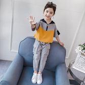 米蘭 女童運動套裝2019新款夏裝韓版洋氣潮童裝休閒兒童時髦短袖兩件套