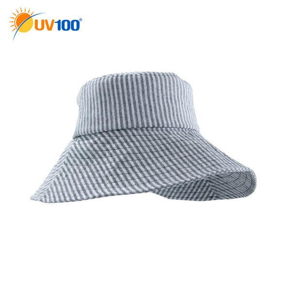 快速出貨 UV100 防曬 抗UV-淑女造型簡約圓遮陽帽-交疊條紋
