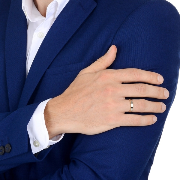 點睛品 Promessa系列 18K金綴鉑金婚戒對戒(男戒)