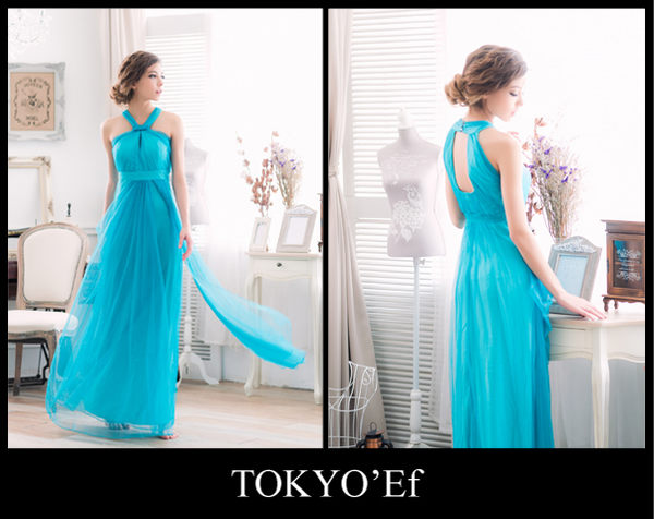 東京衣服-晨曦女神 繞頸 鏤空網紗長禮服 婚紗拍照 送客 晚宴 湖水綠