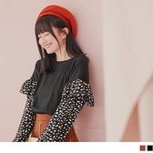 《AB14366-》造型荷葉豹紋拋袖拼接針織短版上衣 OB嚴選