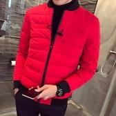 夾克外套-棒球領韓版時尚休閒保暖夾棉男外套4色73qa49【時尚巴黎】