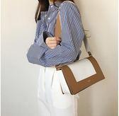夏季韓國斜挎女包軟皮撞色單肩包拼色包長方形寬帶女包包 森活雜貨