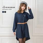 氣質襯衫--可愛學院風優雅貓刺繡長短圓弧下襬長版線條襯衫(黑.藍L-3L)-I98眼圈熊中大尺碼
