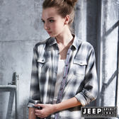 【JEEP】女裝 經典漸層造型水洗長袖襯衫 (灰色)