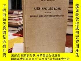二手書博民逛書店Apes罕見and Ape lore in the Middle Ages and the Renaissance