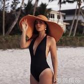 歐美復古時尚法式超大沿草帽女夏可捲邊大帽檐遮陽度假海邊沙灘帽 雙12全館免運