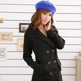 大衣外套--營造自信時尚雙排釦西裝領內刷毛收腰外套/大衣(黑.灰S-2L)-J87眼圈熊中大尺碼