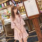 VK精品服飾 韓系碎花雪紡荷葉袖甜美短袖洋裝