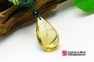 《頂級胎毛項鍊水滴造型(黃色)》—肚臍印...
