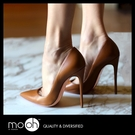 尖頭高跟鞋 淺口 細跟 歐美真皮裸色高跟鞋 mo.oh (歐美鞋款)