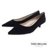 Tino Bellini冬季啞光羊麂皮OL低跟鞋_黑 VI8551