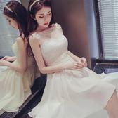宴會禮服 伴娘服短款2019新款夏季伴娘團禮服姐妹裙香檳色洋裝小禮服洋裝