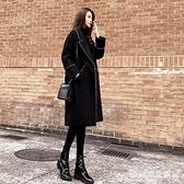 中長款外套 赫本風毛呢外套女中長款正韓羊絨大衣女秋冬呢子外套女 愛麗絲