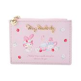 Sanrio 皮質拉鍊票卡夾零錢包 美樂蒂 春天系列 午茶 粉底草莓_133311