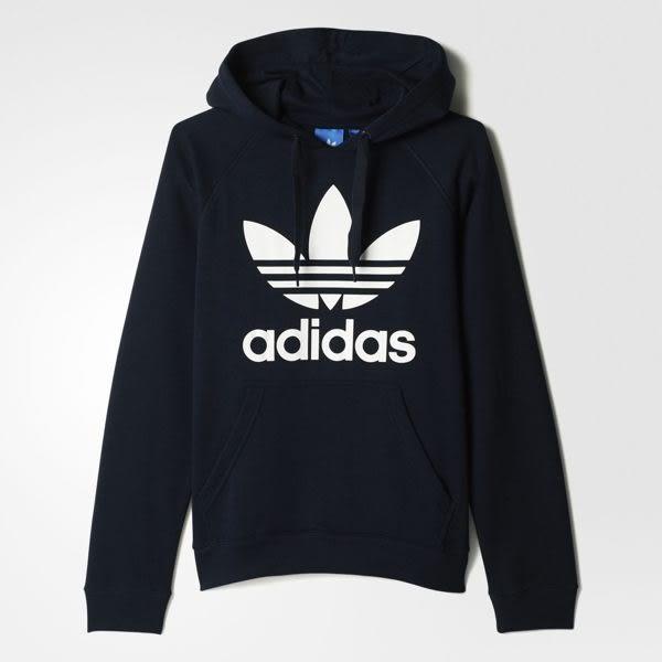 ISNEAKERS Adidas Originals 愛迪達 基本款深藍 大Logo 連帽T桖 帽t 男款 S95512 秋冬