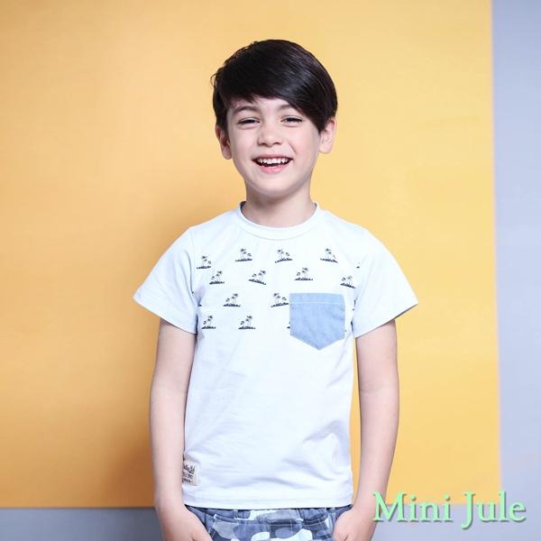 Mini Jule 男童 上衣  沙灘椰子樹印花單口袋短袖T恤(藍 )