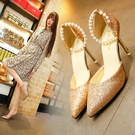 婚鞋 高跟鞋女夏季2021新款韓版百搭珍珠一字扣帶尖頭性感細跟單鞋 宴會禮服鞋