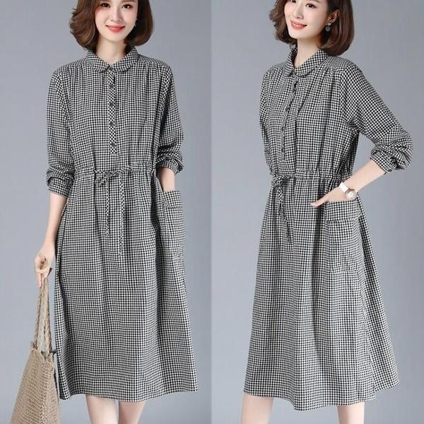 襯衫洋裝 秋裝新款韓版休閒格子棉麻連衣裙寬鬆大碼復古文藝亞麻長袖襯衫裙 - 風尚3C