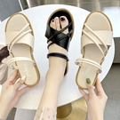 可兩穿.MIT韓版氣質寬細交叉系帶平底涼拖鞋.白鳥麗子