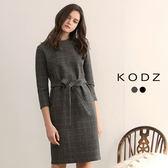 東京著衣【KODZ】溫熱系-經典不敗格紋小立領毛呢設計洋裝-S.M.L(172796)