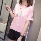 韓版卡通T恤 200斤夏裝2020新款女裝加大碼短袖t恤女寬松半袖上衣服G877 MR11 韓依紡