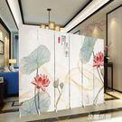 屏風隔斷客廳折疊移動簡約現代辦公室新中式實木定制荷花玄關折屏QM『艾麗花園』