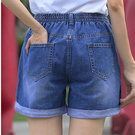 七分褲 牛仔短褲女夏正韓大碼胖mm鬆緊腰五分褲加大尺碼新款寬鬆高腰闊腿熱褲(S-5XL)