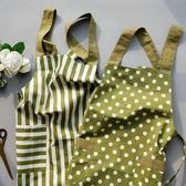 圍裙廚房圍裙韓版時尚小清新條紋簡約圍裙純棉背帶奶茶店工作服罩衣 毅然空間