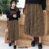 (現貨+預購FUWAFUWA)-加大尺碼豹紋雪紡半身長裙百褶裙