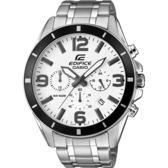 CASIO EDIFICE 驚爆危機三眼計時賽車腕錶-黑框白x銀